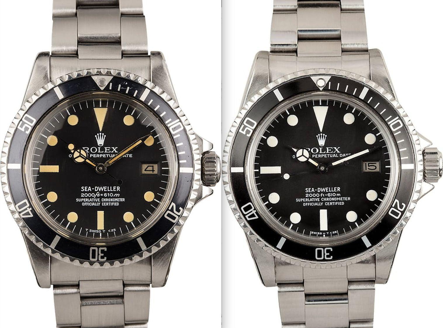 Rolex Sea-Dweller 1665 Tritium vs Rail Dial