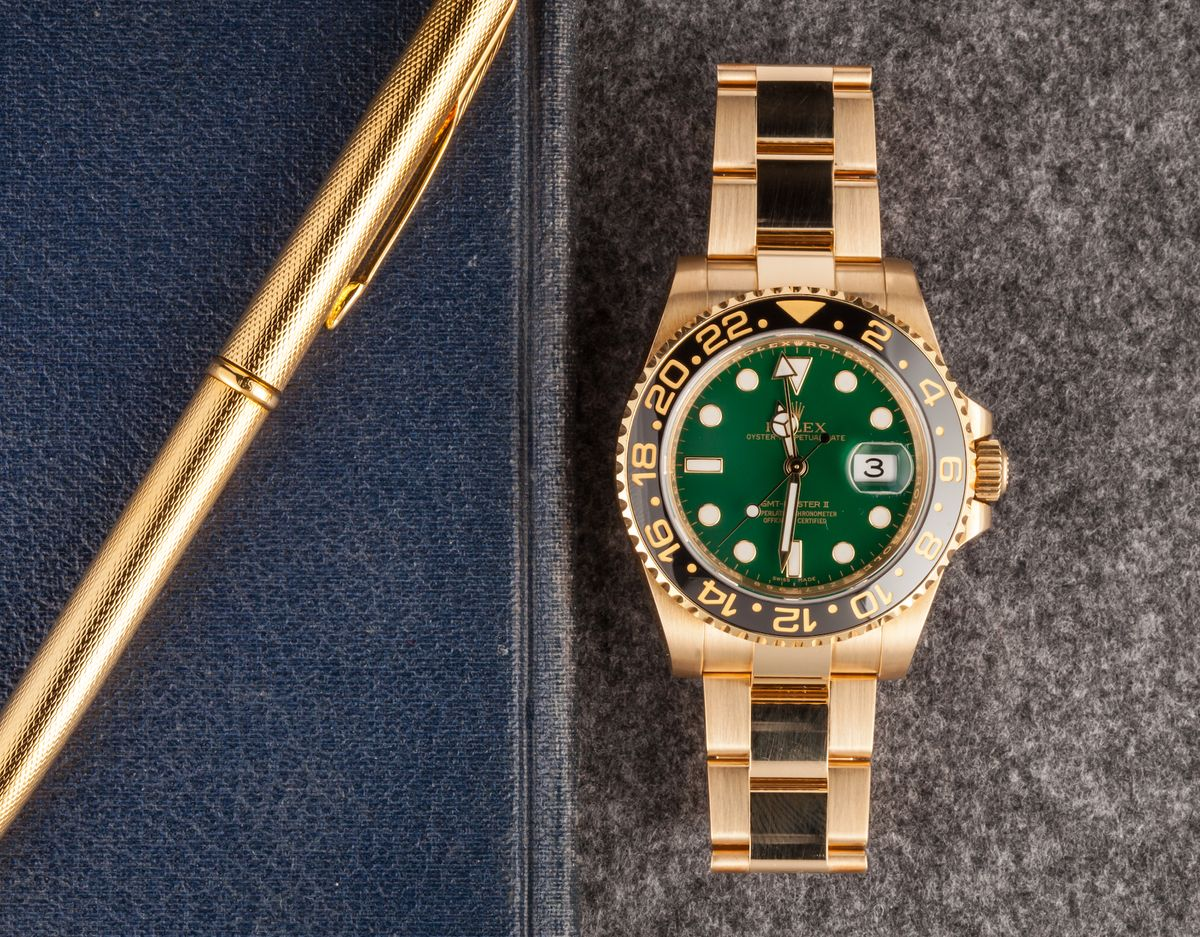 Bob's Watches Favorite Colorful Rolex Dials Gold GMT-Master 116718 - Green Anniversary Dial
