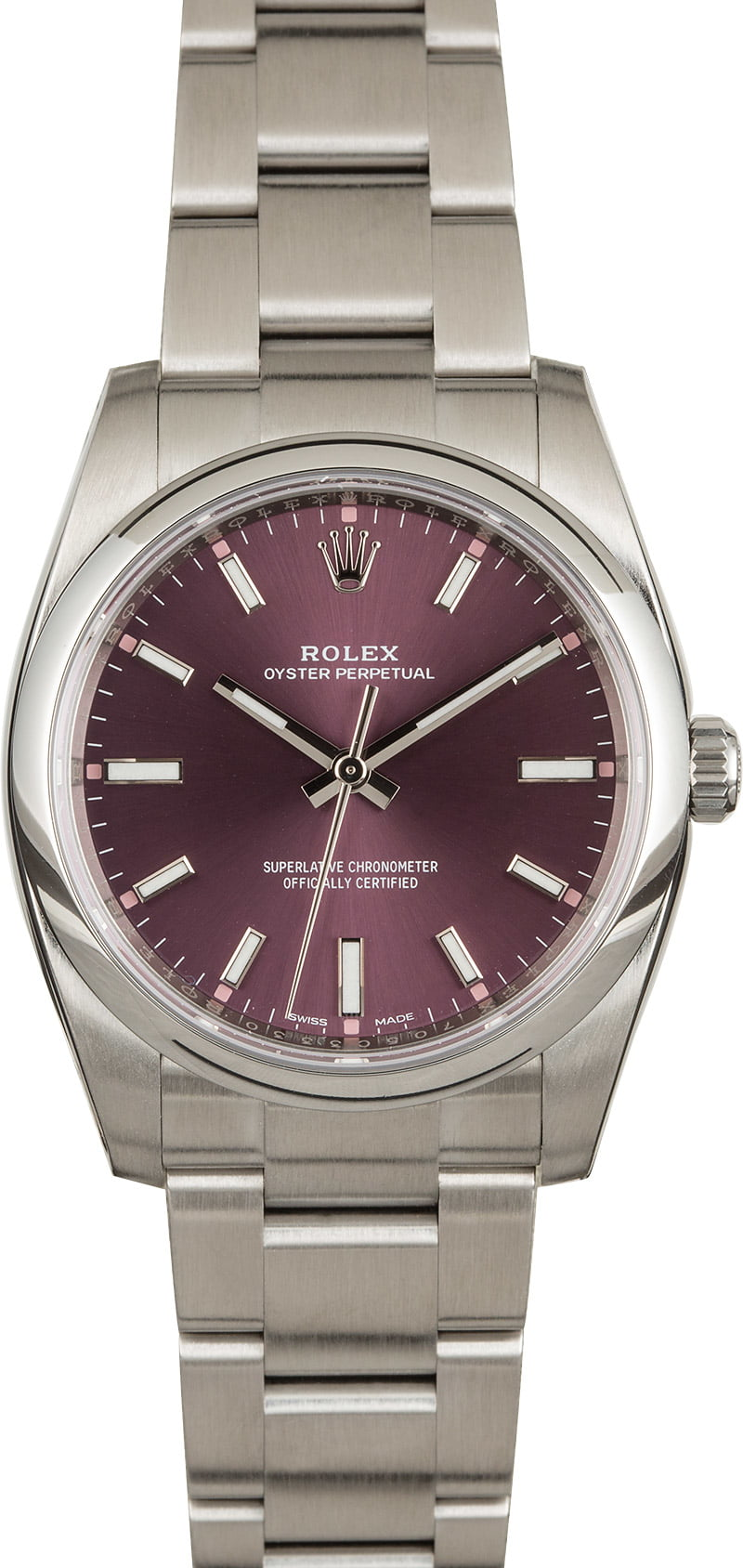 Our Favorite Rare Colorful Rolex Watch Dials Oyster Perpetual 114200 Red Grape Dial