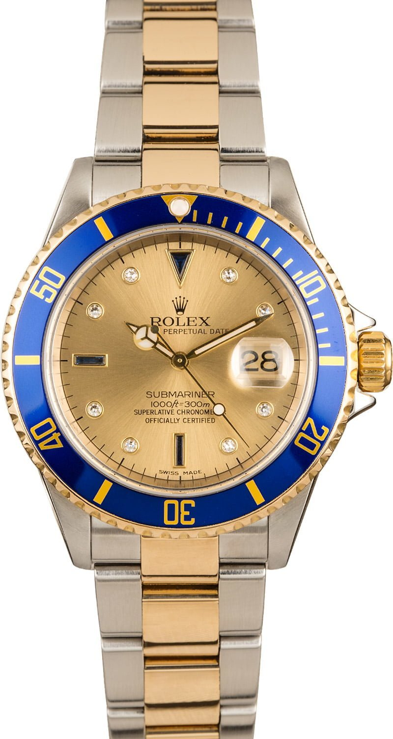Most Luxurious Rolex Submariner Watches two-tone 16613 Champagne Serti Dial