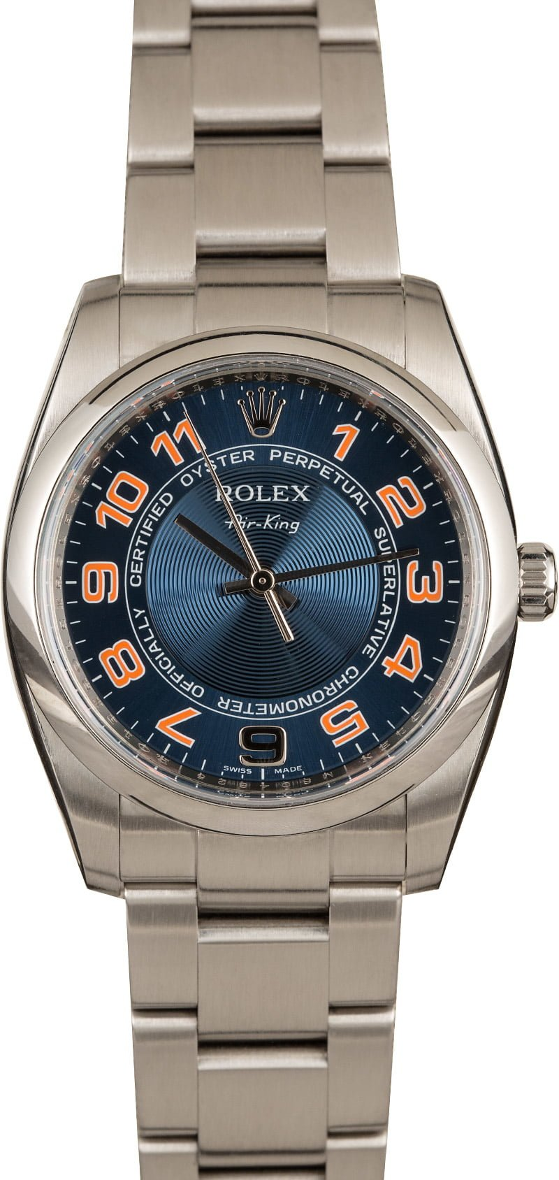 Our Favorite Bright Colorful Rolex Watch Dials Air-King 114200 Blue Orange Arabic Dial