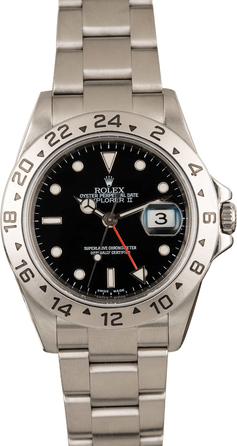 Rolex Explorer II GMT-Hands Official Guide 16570 Black Dial