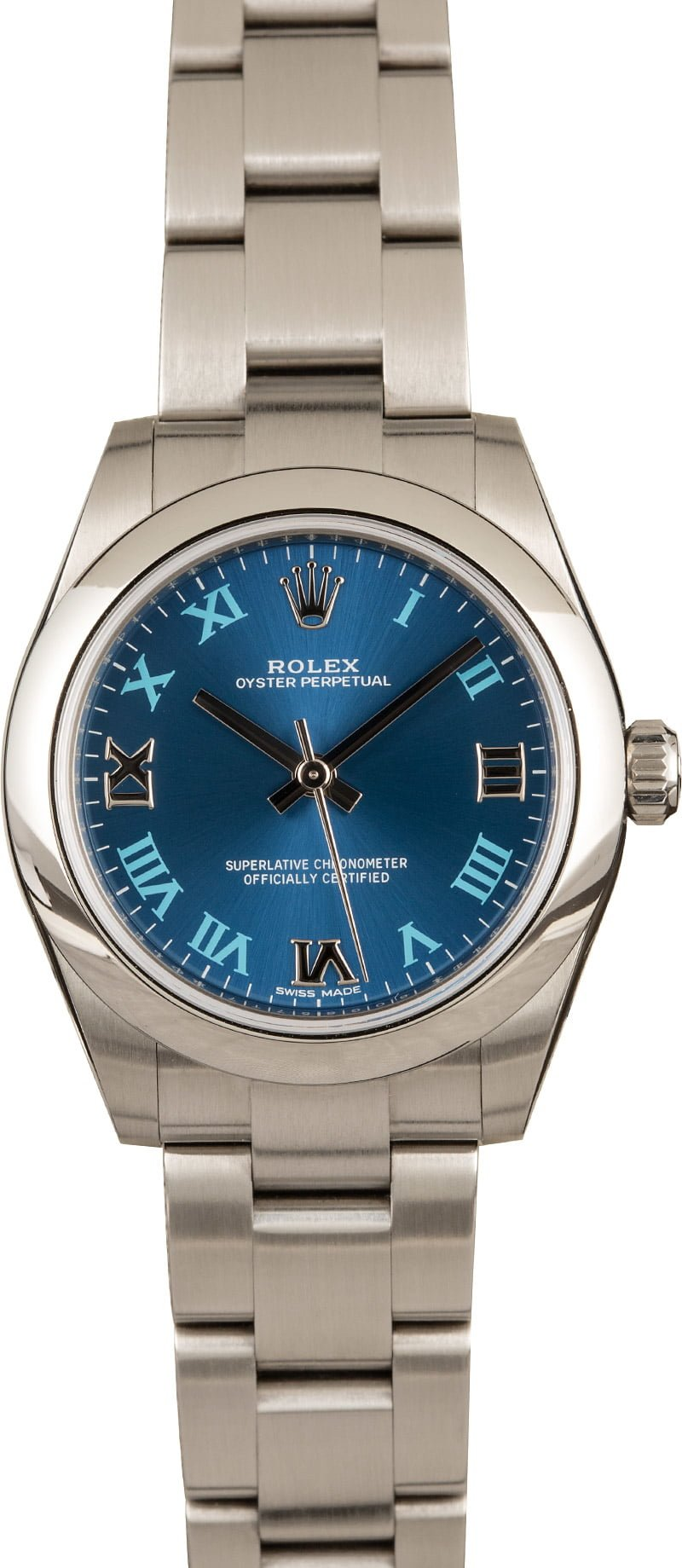 Our Favorite Rare Colorful Rolex Dials Midsize Oyster Perpetual 177200 Blue Roman Dial