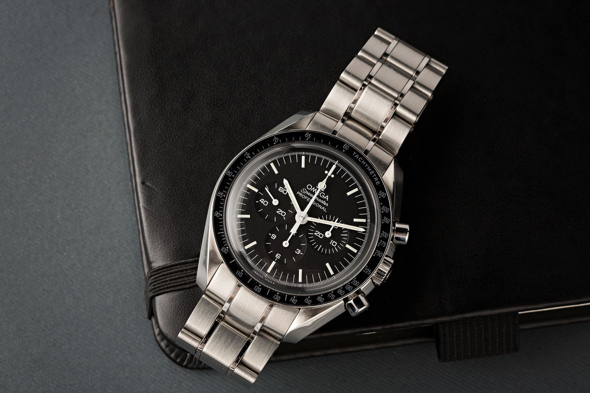 Fathers Day Gift Omega Speedmaster Moonwatch Hesalite Stainless Steel