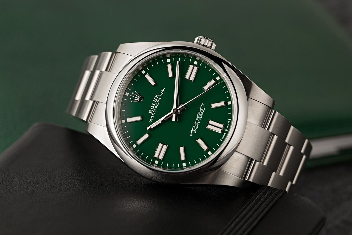 Fathers Day Gift Rolex Oyster Perpetual41 124300 Green Dial Stella