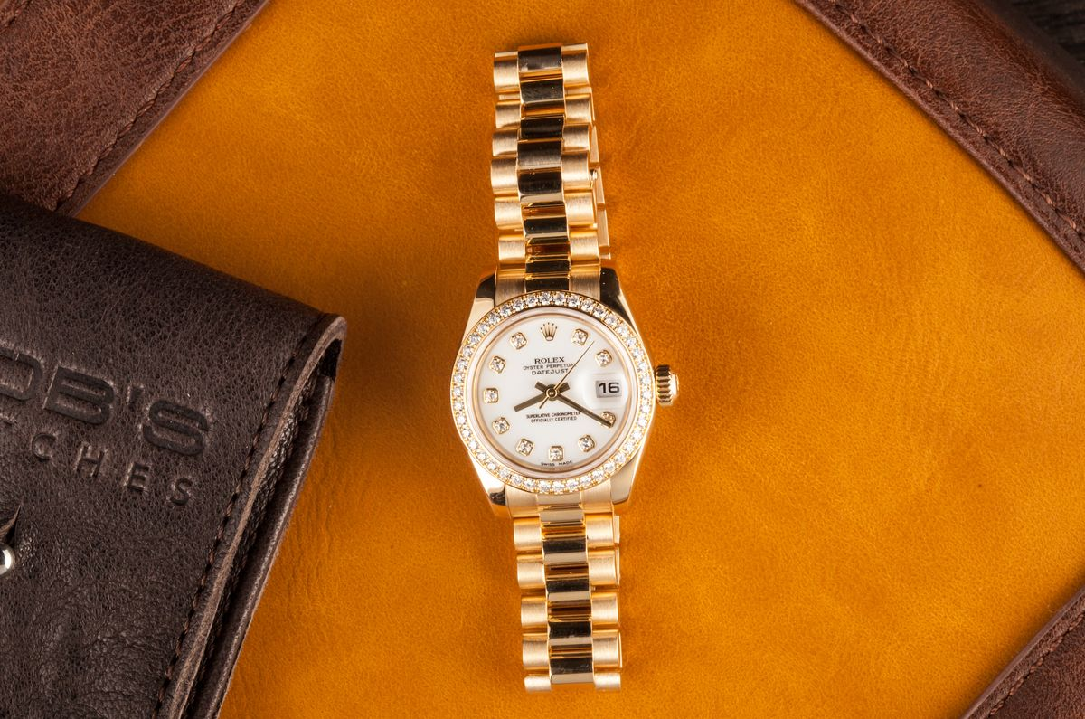 Hailey Bieber Favorite Gold Rolex Watch 179138 Diamond Bezel