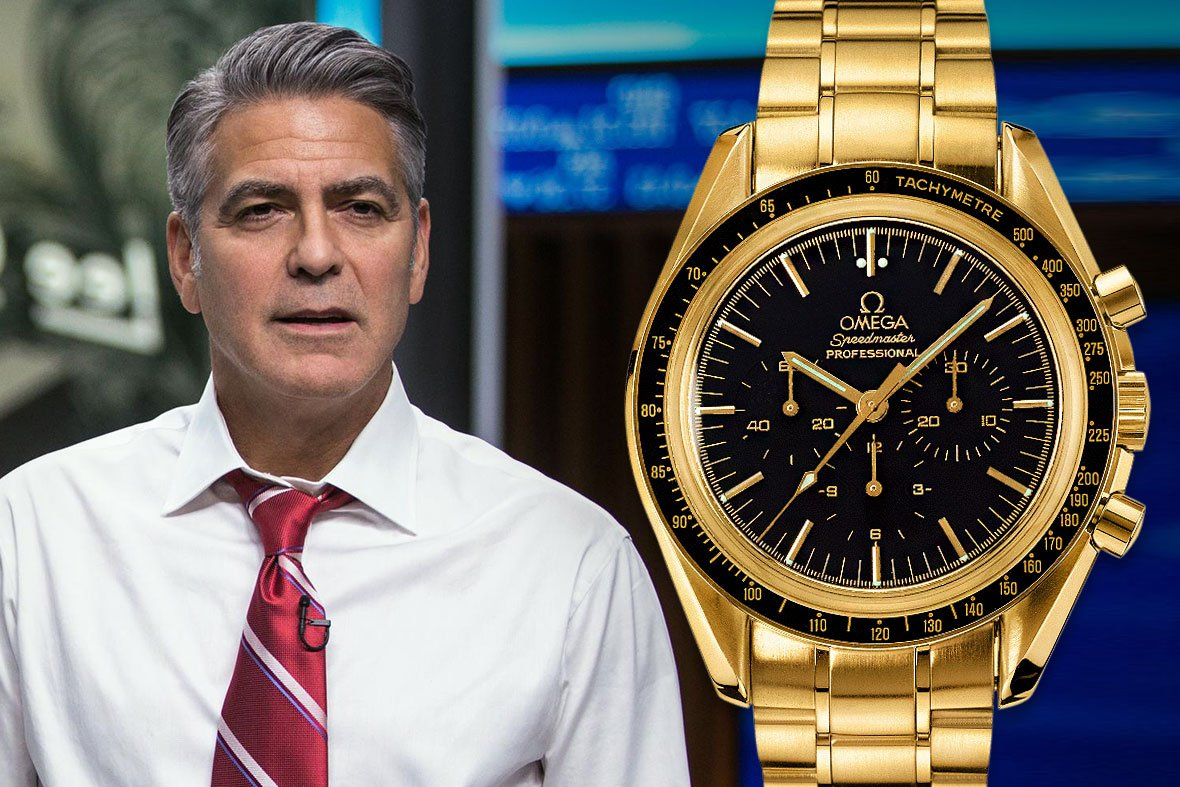 George Clooney Money Monster Omega Speedmaster Professional 18k Gold