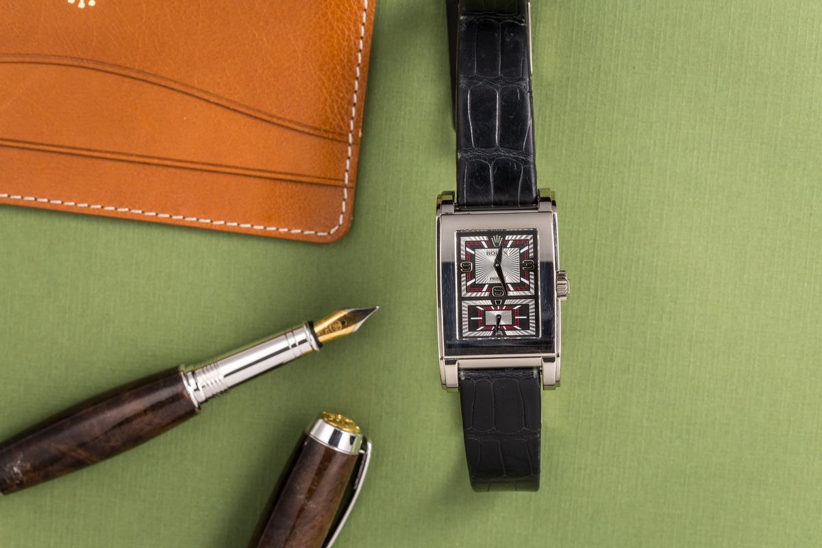 Rectangular Rolex Watches Cellini Prince white gold