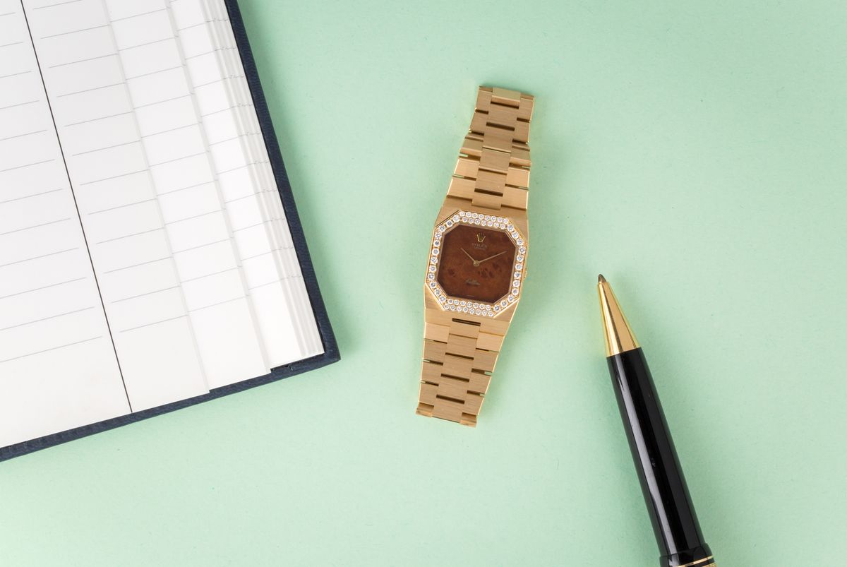 Rectangular Rolex Watches Cellini 4651 Wood dial