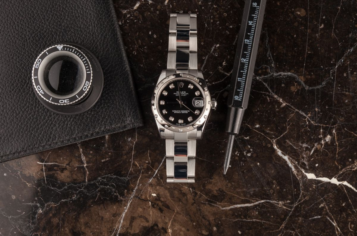 Rolex Datejust 31 White Rolesor Diamond Bezel 31mm Diamond Dial