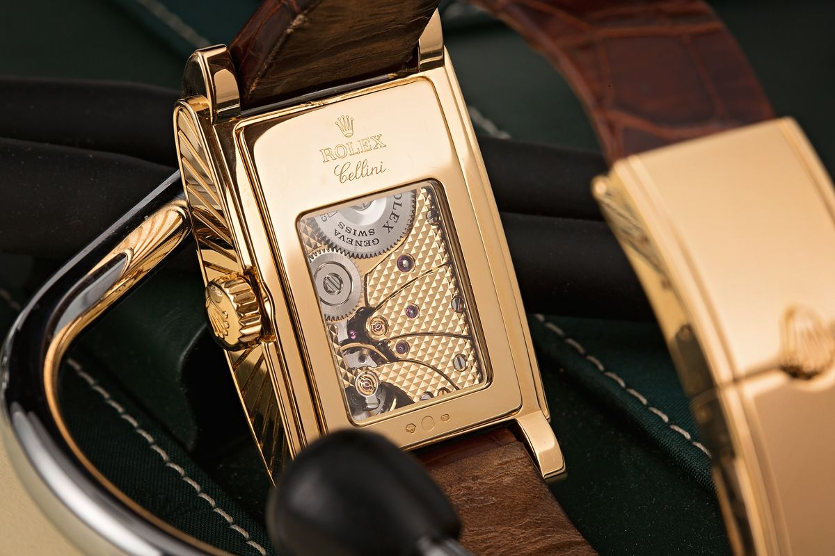 Rectangular Rolex Watches Cellini Prince Yellow Gold