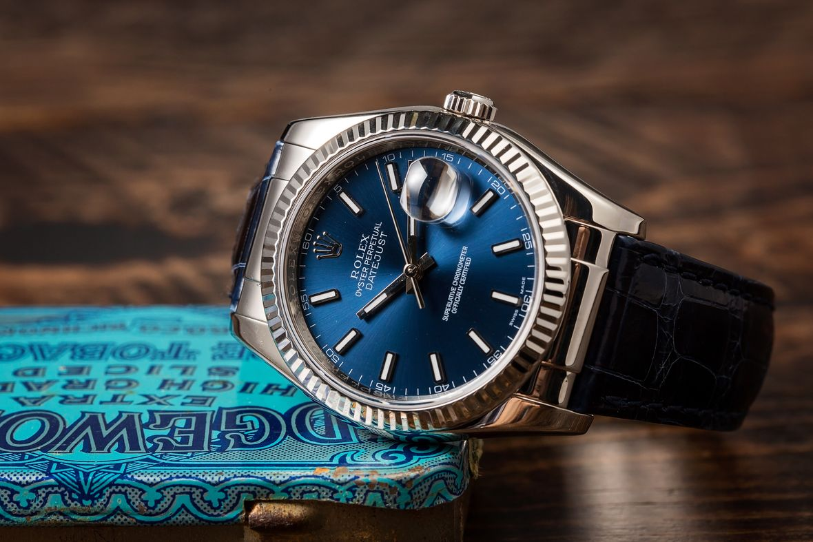 Rolex Datejust 36 White Gold Leather Strap Blue Dial