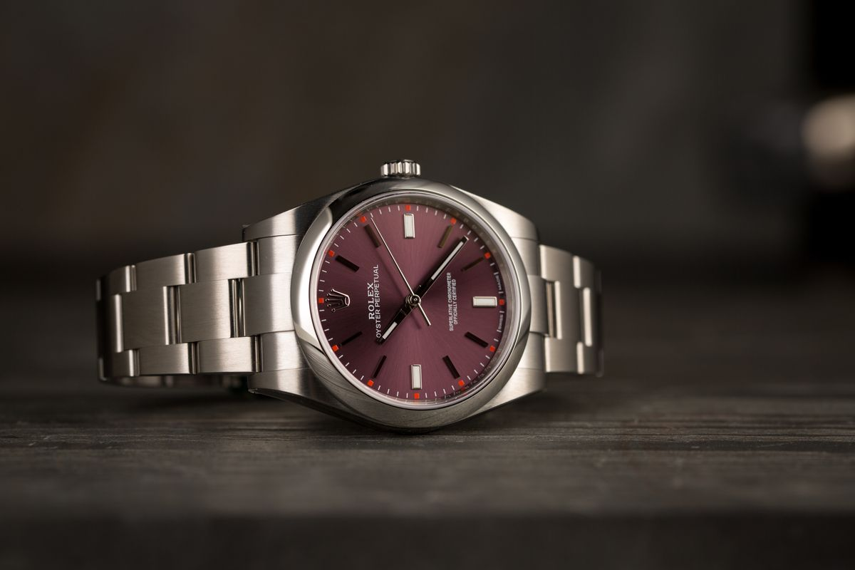 Unisex Rolex Oyster Perpetual Red Grape Dial