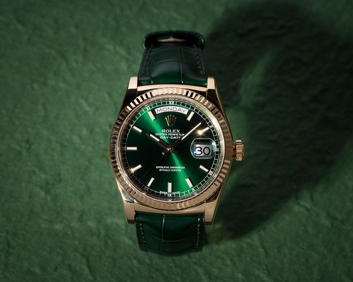 Rolex Datejust 36 Yellow Gold Green Dial Leather Strap