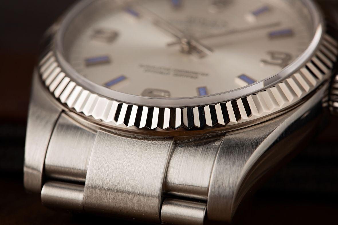 Rolex Air-King 114234 18 Karat White Gold fluted bezel