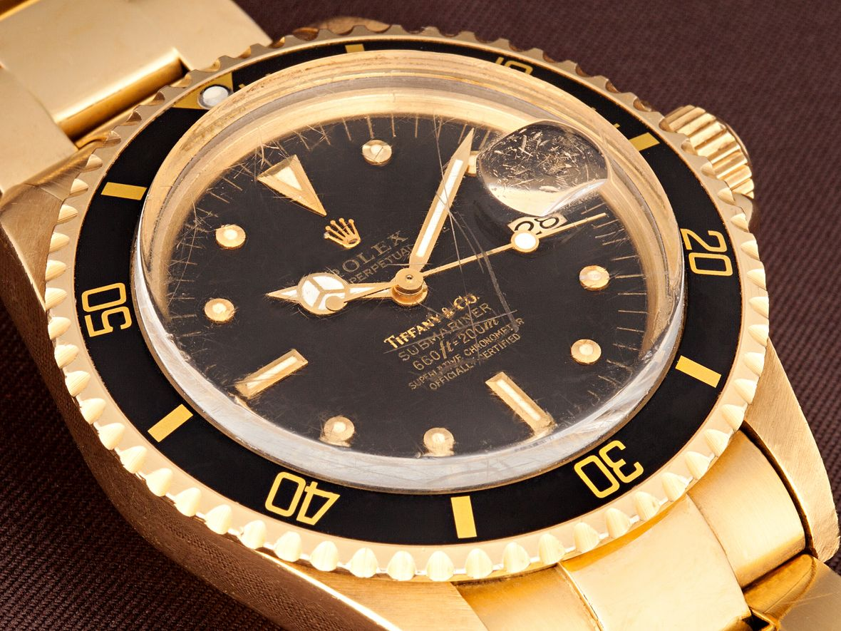 Vintage Rolex Submariner 1680/8 Yellow Gold Tiffany Dial