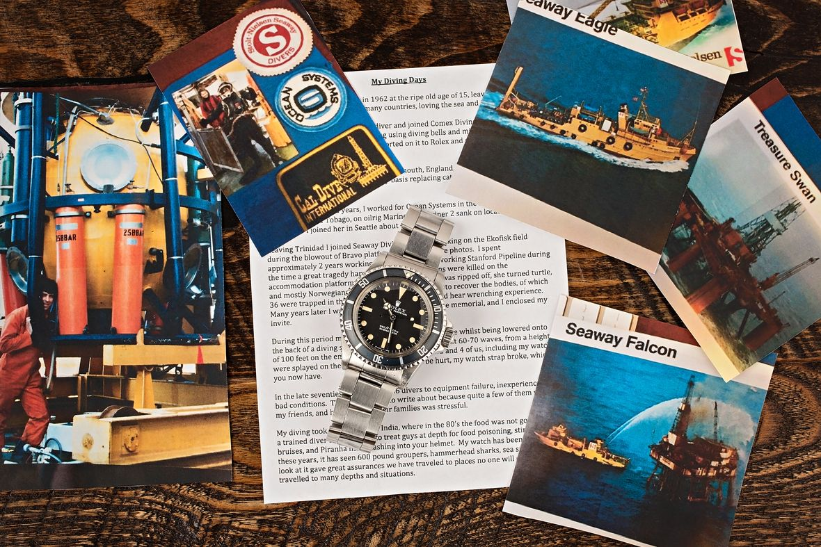 Vintage Rolex 5513 Submariner COMEX Dive Watch Letter of Provenance Photos from Original Owner