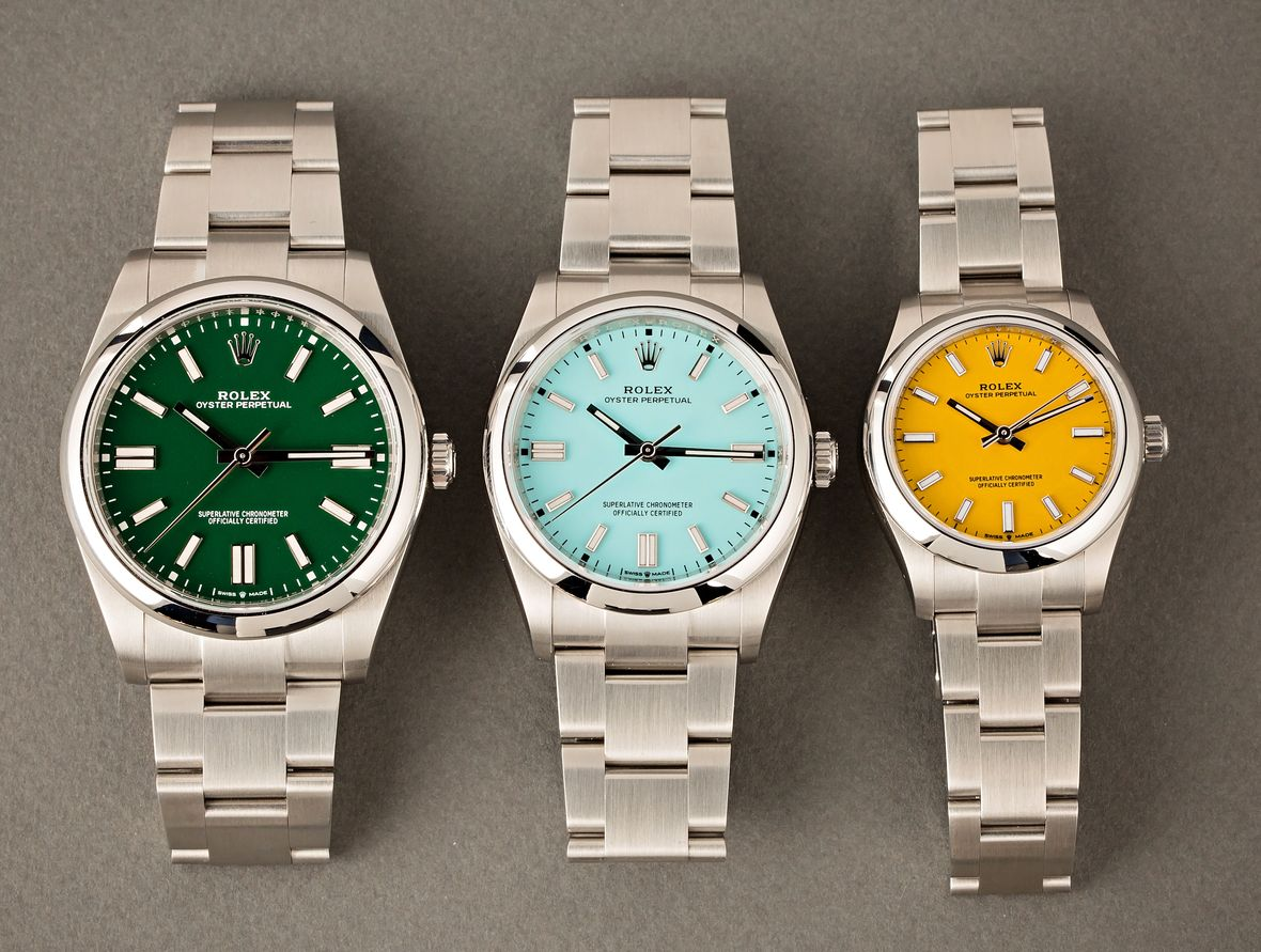 Rolex Stella Dial vs Oyster Perpetual Watches OP Green Turquoise Yellow