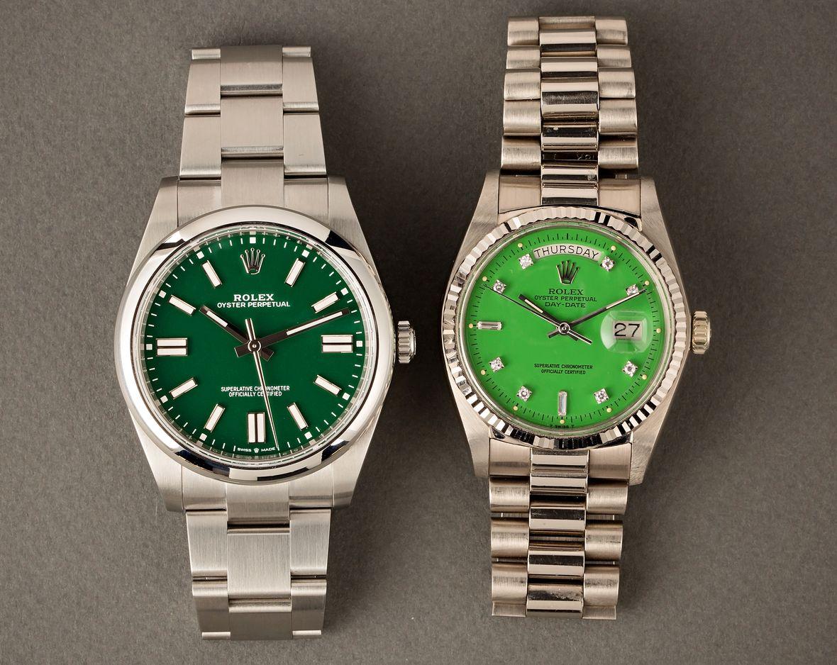 Rolex Stella Dial vs Oyster Perpetual Green dials diamond white gold