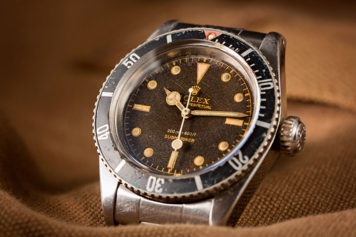 How to tell what vintage Rolex Submariner series Big crown James bond red triangle gilt dial 6538
