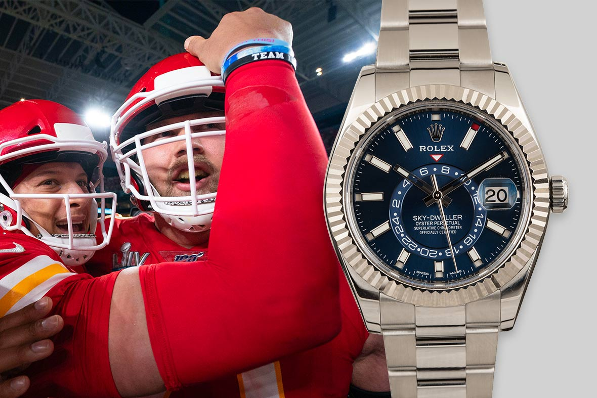 Top NFL Luxury Watches Super Bowl Stainless Steel Rolex Sky-Dweller 326934 Blue Dial