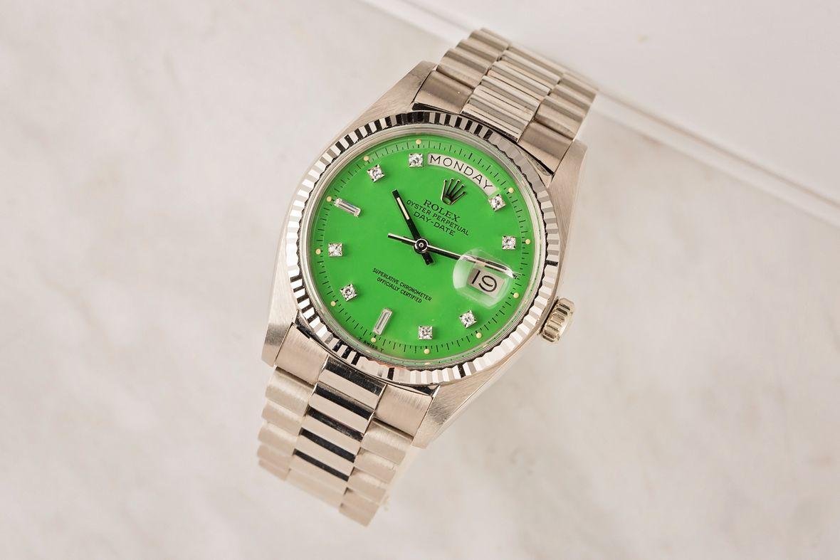 Vintage Rolex Day-Date 1803 Green Stella Dial