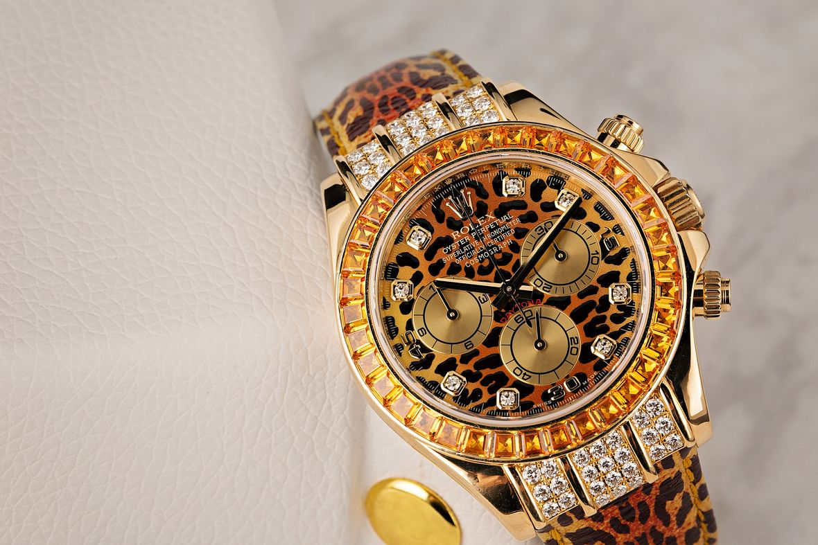 Diamond Rolex Leopard Daytona SACO