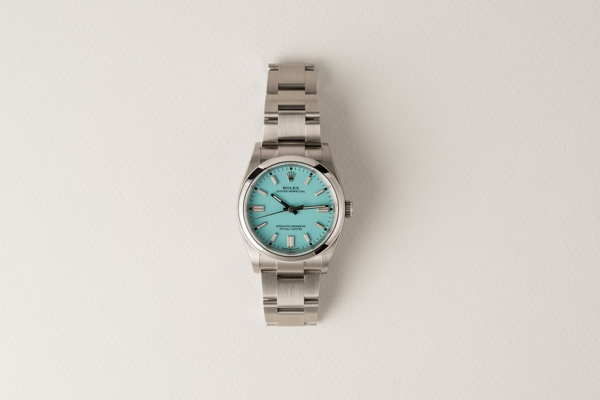Ladies Rolex Oyster Perpetual Turquoise Dial