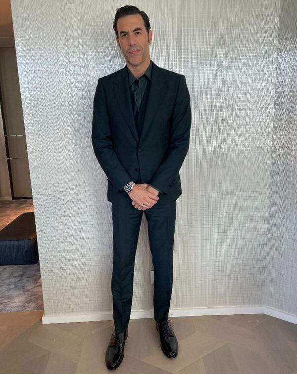 Golden Globes Sacha Baron Cohen Omega Speedmaster Moonwatch Master Chronometer Hesalite Crystal