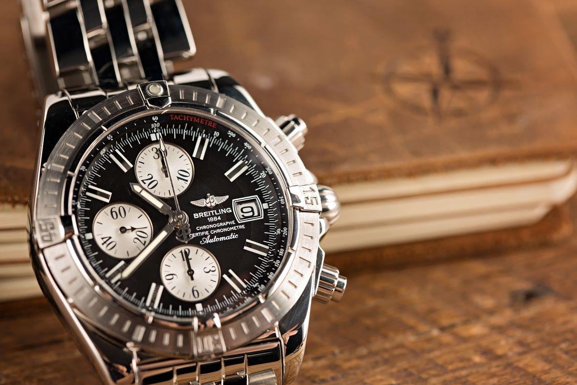 Breitling Watches Chronomat Stainless Steel Black Dial