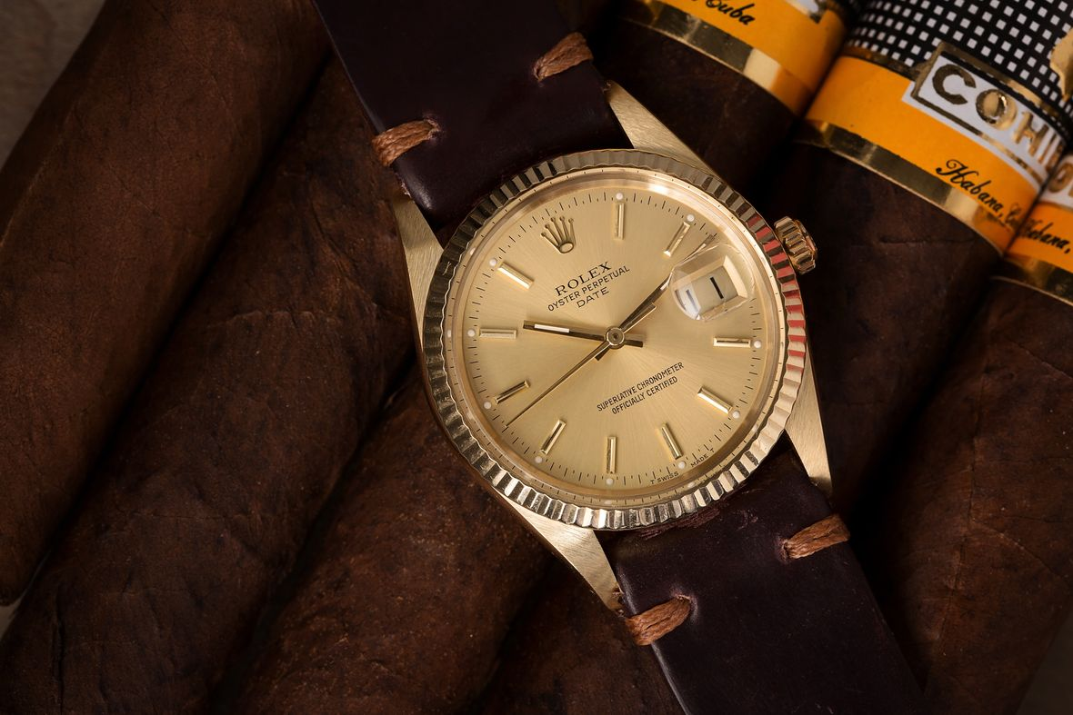Rolex Date Yellow Gold Leather Strap