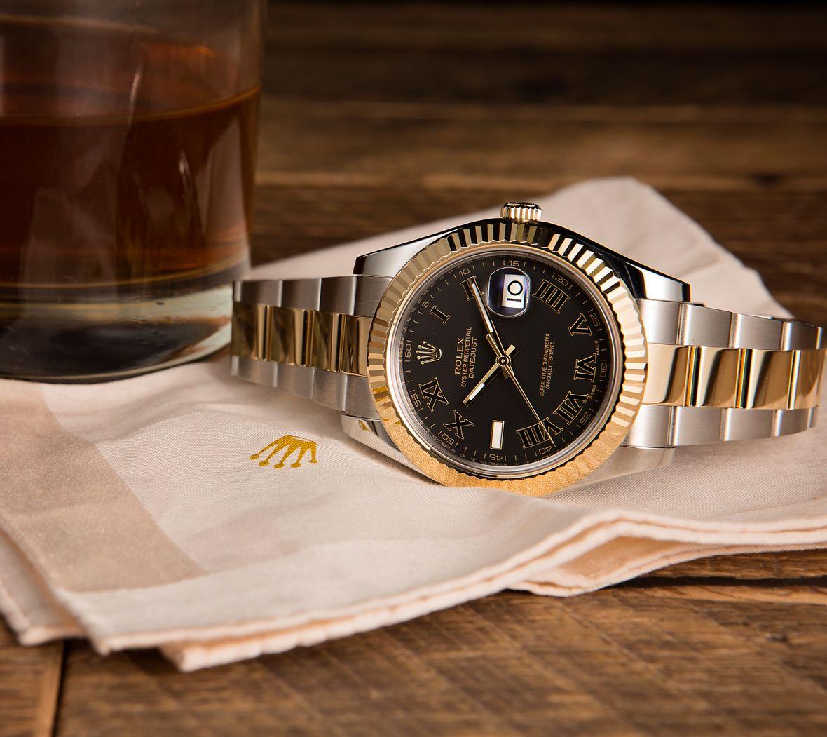 Rolex Datejust II Black Roman Dial Two-Tone 116333