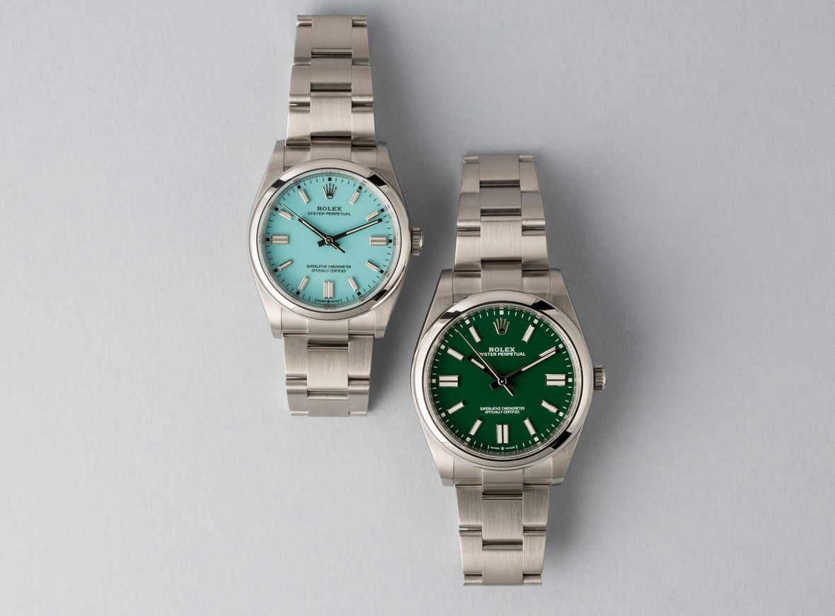 Rolex Oyster Perpetual 36 and 41 Turquoise Blue Green 36mm 41mm