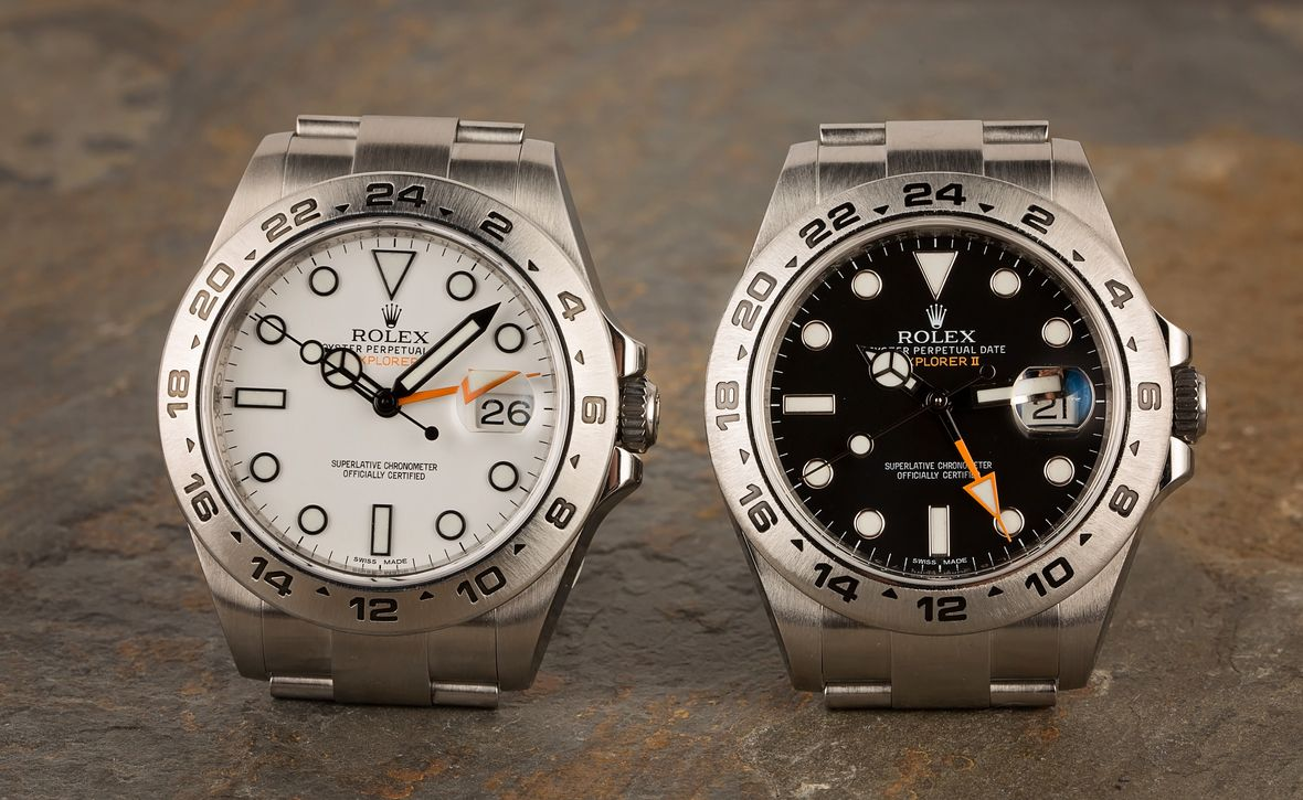 Rolex Explorer II Black and White Stainless Steel Watches