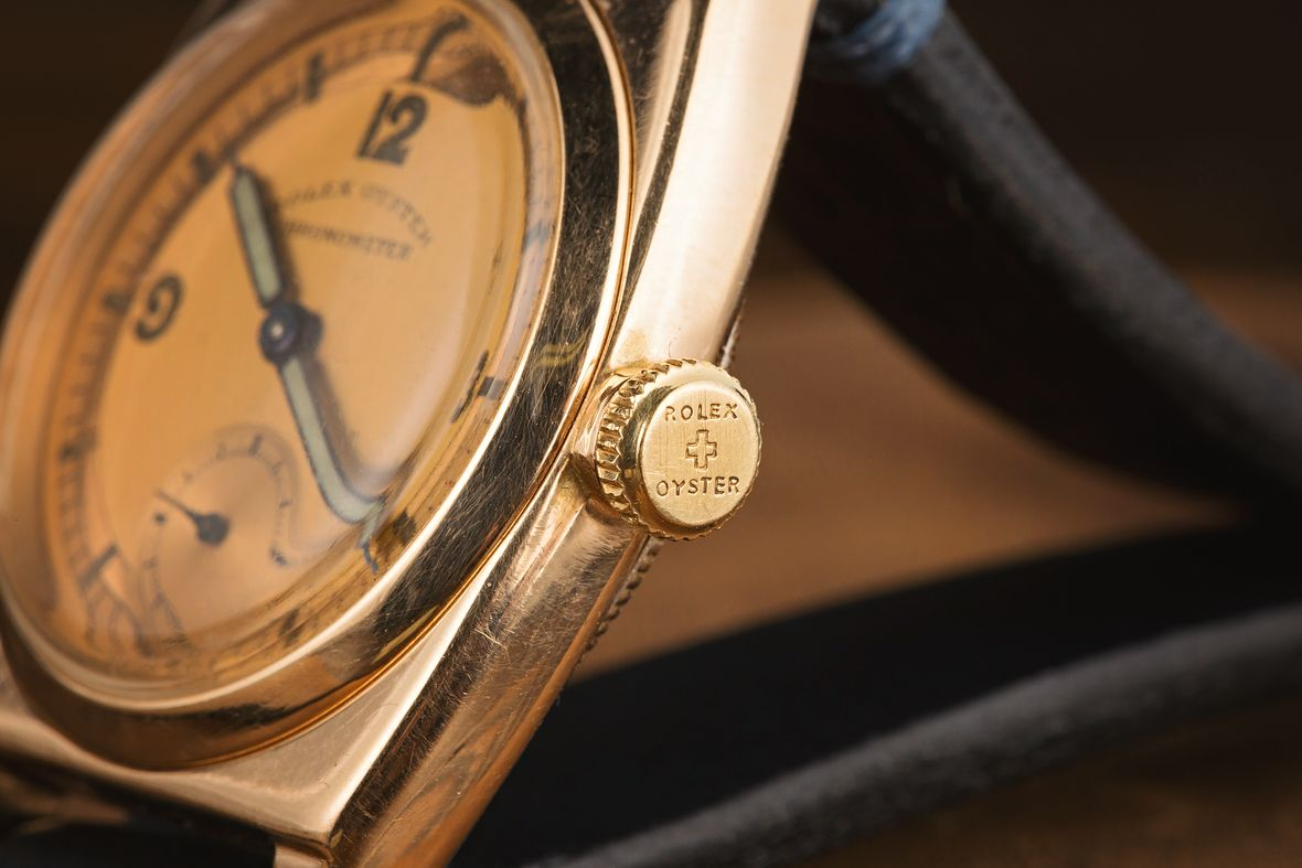 Vintage Rolex Oyster Watch Screw Down Crown Rose Gold Mothers Day