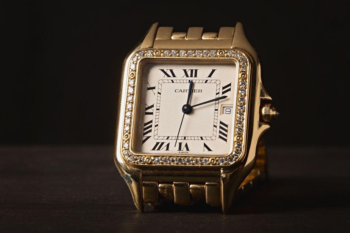 Gold Cartier Panthere Diamond Bezel