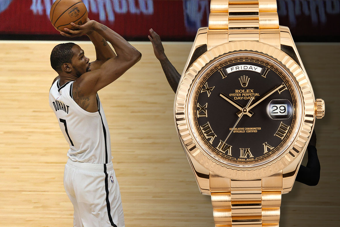 Kevin Durant Rolex Day-Date II Black Roman Dial Yellow Gold