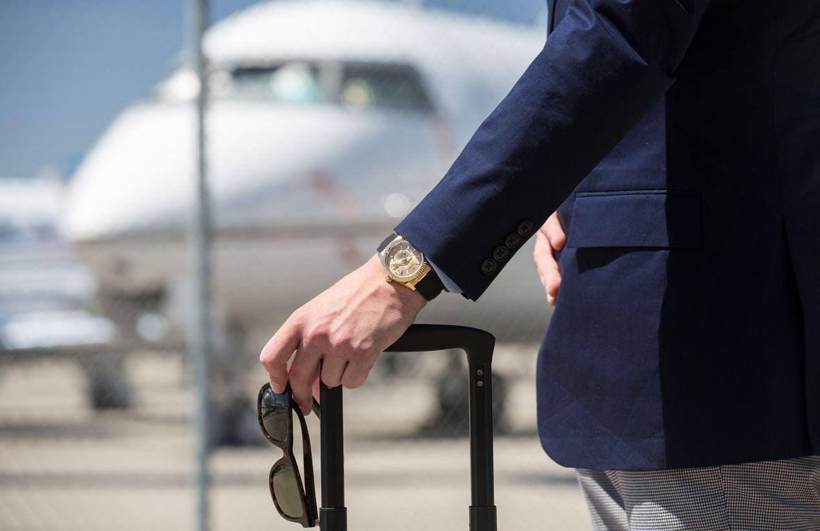 Best Travel Watches Rolex Sky-Dweller Oysterflex Yellow Gold 326238